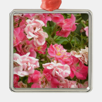 Pink Groundcover Roses Metal Ornament