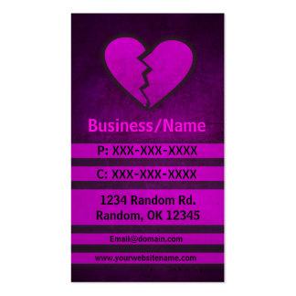 Pink grunge broken heart custom business cards