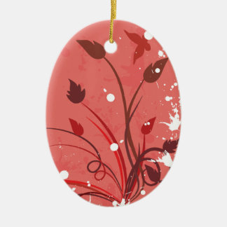 Pink Grunge Butterfly Oval Ceramic Ornament