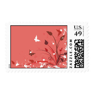 Pink Grunge Butterfly Postage