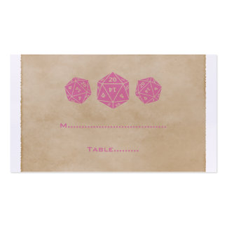 Pink Grunge D20 Dice Gamer Place Card Business Card Template