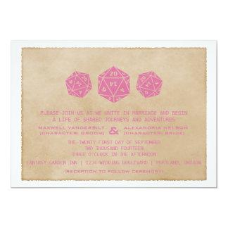 Pink Grunge D20 Dice Gamer Wedding Invitation