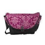 Pink Grunge Damask Pattern Courier Bags