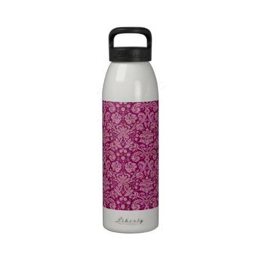 Pink Grunge Damask Pattern Reusable Water Bottle