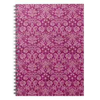 Pink Grunge Damask Pattern Spiral Notebook