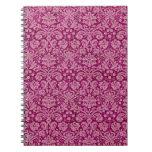 Pink Grunge Damask Pattern Spiral Notebooks