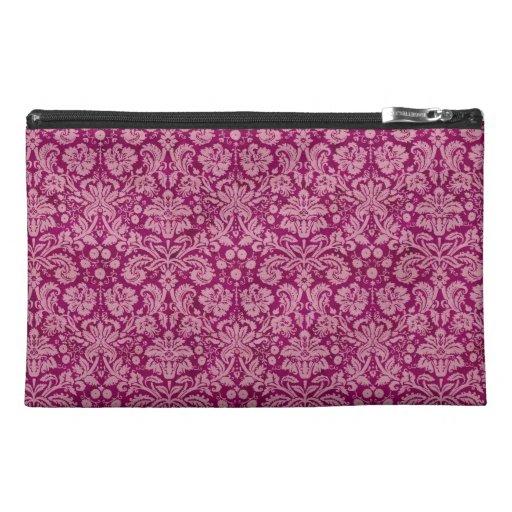 Pink Grunge Damask Pattern Travel Accessory Bag