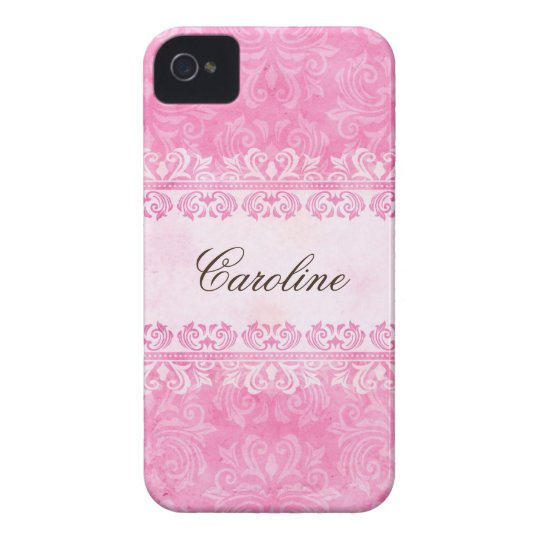 Pink grunge damask personalized BlackBerry case