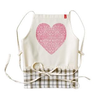 Pink Grunge Damask Wedding Collection Z01 Zazzle HEART Apron