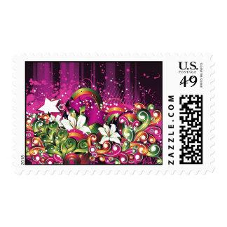 Pink Grunge Floral Illustration Postage