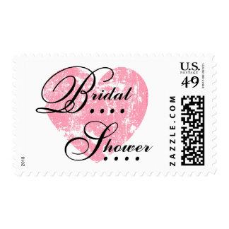 Pink Grunge Heart Bridal Shower A01 Postage