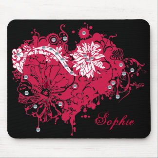 Pink Grunge Heart, Flowers & Sequins Illustration Mouse Pad