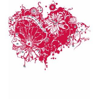 Pink Grunge Heart, Flowers & Sequins Illustration shirt