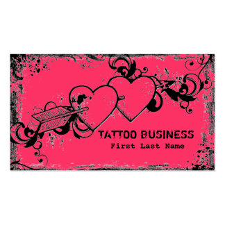 Pink grunge heart messy tattoo business cards