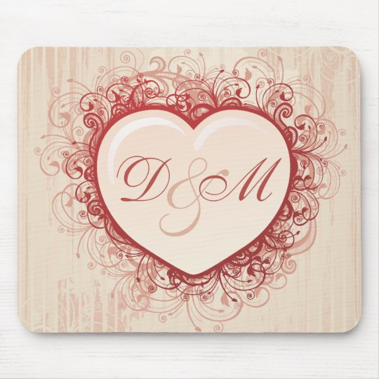Pink Grunge Heart Mouse Pad