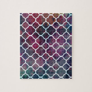 Pink Grunge Moroccan Style Jigsaw Puzzle