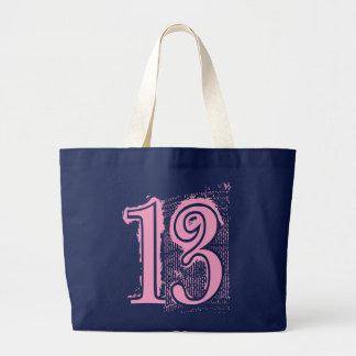 PINK GRUNGE NUMBER 13 LARGE TOTE BAG
