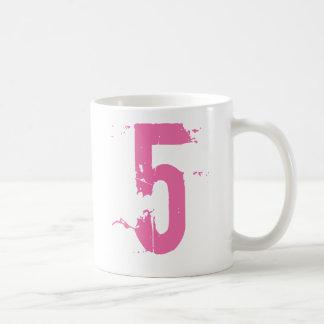 PINK GRUNGE NUMBER 5 COFFEE MUG