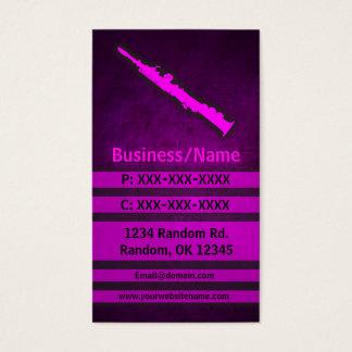 Pink grunge oboe clarinet custom business cards