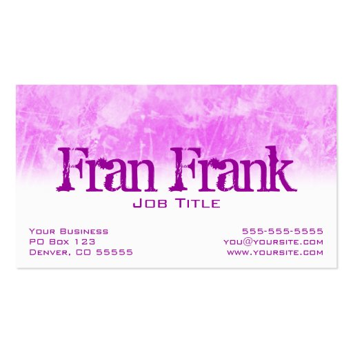 Pink Grunge Profile Card Business Card Templates