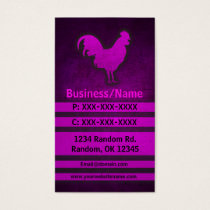 Pink grunge rooster chicken custom business cards