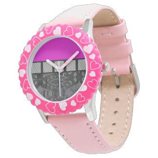Pink Grunge Sassy Lips Metal Watch