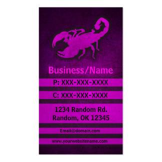Pink grunge scorpion custom business cards