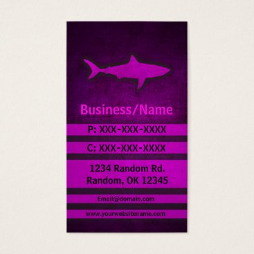 Professional Business Pink grunge shark custom business cards