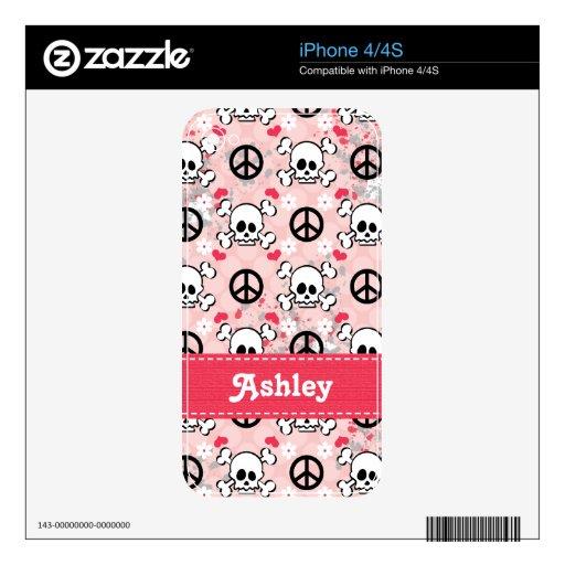 Pink Grunge Skull and Crossbones iPhone 4 / 4s Ski iPhone 4S Skin