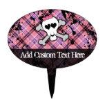 Pink Grunge Skull w/ Crossbones Hearts Cake Pick