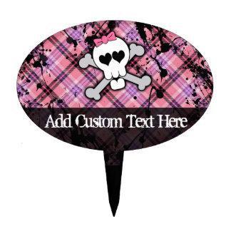 Pink Grunge Skull w/ Crossbones Hearts Cake Topper