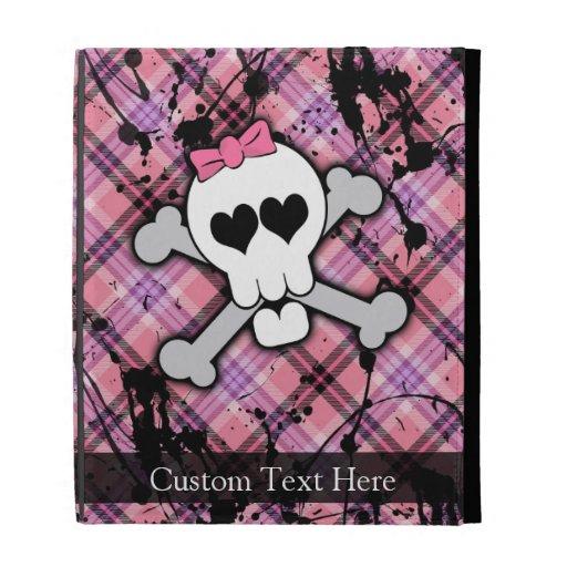 Pink Grunge Skull w/ Crossbones Hearts iPad Folio Cases