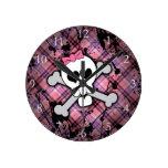 Pink Grunge Skull w/ Crossbones Hearts Round Wall Clock
