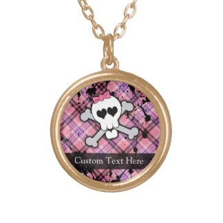 Pink Grunge Skull w/ Crossbones Hearts Gold Plated Necklace