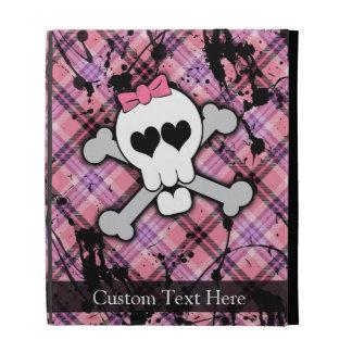 Pink Grunge Skull w/ Crossbones Hearts iPad Folio Cover