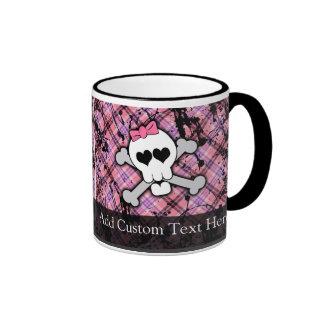 Pink Grunge Skull w/ Crossbones Hearts Mug