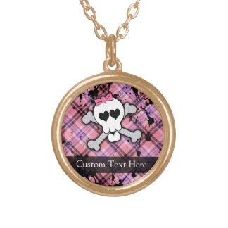 Pink Grunge Skull w/ Crossbones Hearts Round Pendant Necklace
