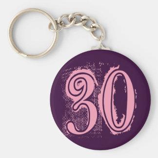 Pink Grunge Style Number 30 Keychain