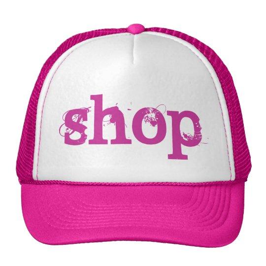 PINK Grunge Text SHOP Trucker Hat