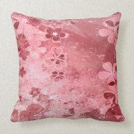 Pink grunge vintage floral pattern pillow