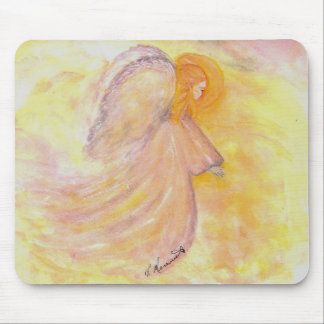Pink Guardian Angel painting - watercolor Mouse Pad