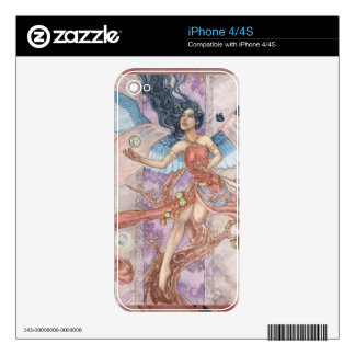 Pink Guardian Angel with Blue Butterflies iPhone S Skins For The iPhone 4