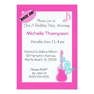Pink Guitar  Birthday Invitations