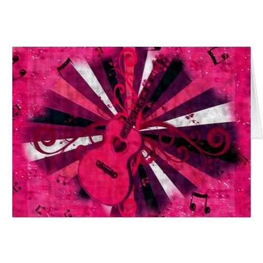 Pink Guitar, blank card