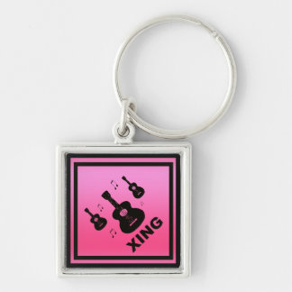 Pink Guitar Crossing Traffic Sign Silver-Colored Square Keychain