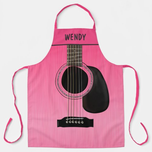 Vibrant Pink Guitar Personalized All-Over Print Apron