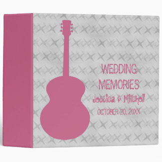 Pink Guitar Grunge Wedding Binder