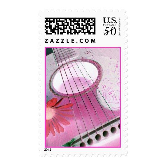 Pink guitar stamp