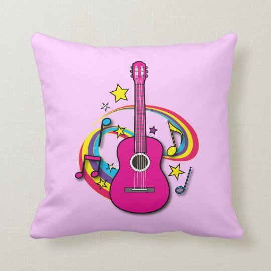 Pink Guitar with Music and Rainbow Throw Pillow