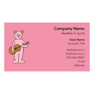 Pink Guitarist Bear Cartoon. Business Card